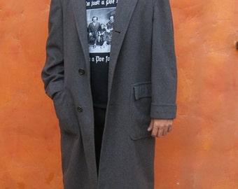 Vintage Men's 1950s 1960s Grey 100% Cashmere Dress Coat Jacket. Overcoat. Ultissimo. Large XL 44R