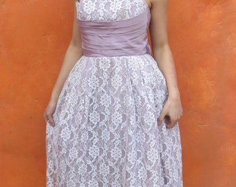 Vintage 1950s 1960s Purple Lavender Ivory Floor Length Formal Party Cocktail Evening Dress Gown. Shelf Bust. Lace Taffeta. xs