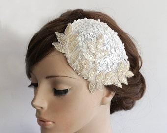 Bridal Hat Wedding Fascinator Modern Cocktail Party Headpiece White Sequin Beige Applique Lace Embroidery Sparkle Hair Teardrop Sinamay Base