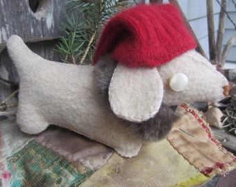 DACHSHUND Dog MADE to ORDER Up cycled  Handmade Sewed by Hand  Softie