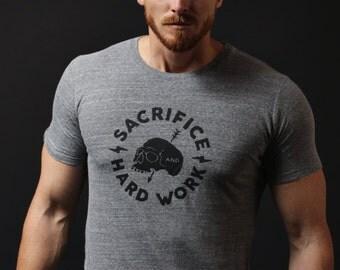 Gray t-shirt - short sleeve t-shirt. Soft mens crew neck t-shirt grey. Gym inspired screen print graphic - mens clothing apparel