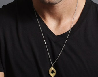 Rhombus Necklace - Geometric Necklace: Small Rhombus charm made of brass hangs from steel chain.