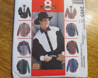 VINTAGE 1990s Country Western Shirts for Men - Chest 50 - 52 (Size XXL) - UNCUT Sewing Pattern McCalls 2453