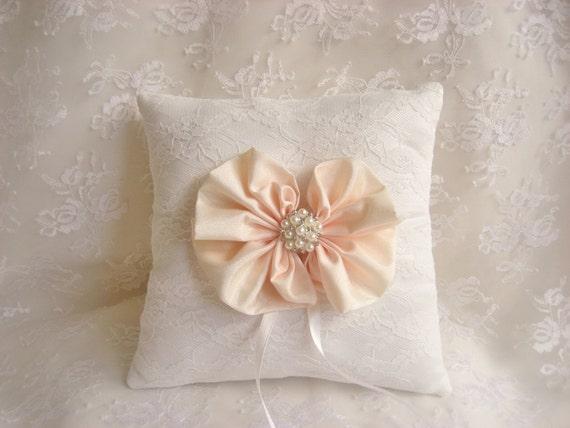 Ring Bearer Pillow,  Wedding Ring Pillow, Ring Pillow Blush Bows  Wedding Pillow Elegant and Classic