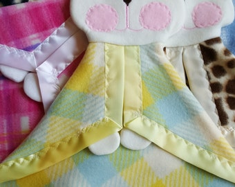 Yellow and Blue Plaid replica Fisher Price Bunny Puppet Lovey Security Blanket