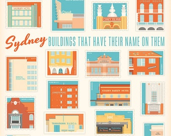 Sydney Buildings That Have Their Name On Them retro illustrated print