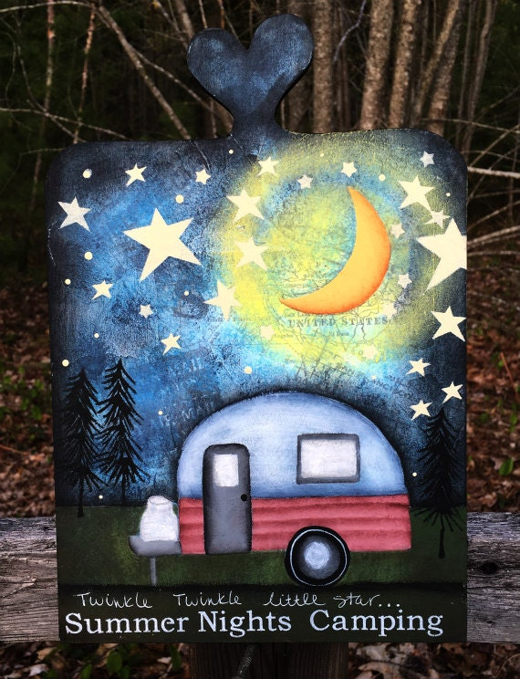 Camper sign, happy camper, hand painted camper decor, wood sign, summertime, vintage camper sign, camping, mixed media, nature, ctsofg