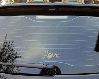 Love Pawprint Car Decal