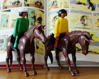 4 Vintage Play-Big Figurines (2 Men and 2 Horses)