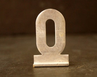 "Vintage Metal Sign Letter ""O"" with Base, 1-13/16 inches tall (c.1950s) - Industrial Decor, Art Supply, Typography"