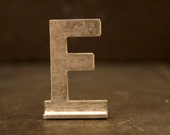 """Vintage Metal Sign Letter """"F"""" with Base, 1-13/16 inches tall (c.1950s) - Industrial Decor, Art Supply, Typography"""