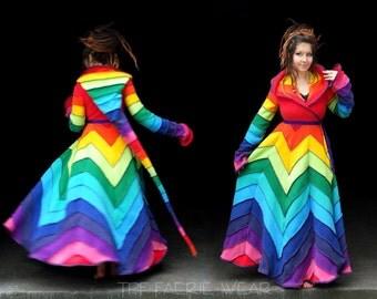 Deluxe rainbow full length Fleece 12 stripe zigzag 'Tournedot' Jacket(length 7). 24 stripe ultimate pixie hood / 12 stripe sidhe sleeves