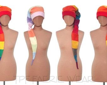 Rainbow 12 stripe fleece Positively pixie hat