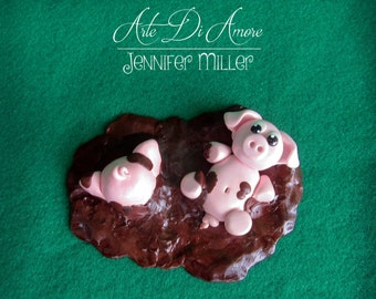 Two Pigs in Mud Cake Topper Figurine