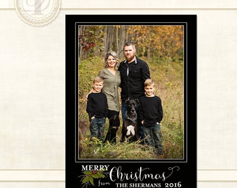 Christmas Cards, Digital Photo Cards, Photo Card,  Christmas Card Template, Christmas Photo Card, Personalized Christmas Card, Sherman 2016