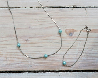 Vintage mint blue pearl necklace and bracelet