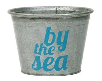 SALE! By the Sea Coastal Metal Storage Bucket, Turquoise