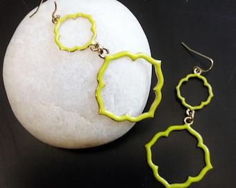 """EARRINGS:    Bright yellow or light powder blue enamel 2.5"""" long dangle earrings"""
