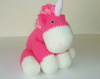 Cuddly Pink and White Unicorn (Finished Doll)