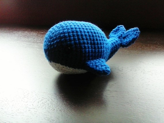 Whale Amigurumi Blue : Amigurumi Whale Royal Blue and White with Safety Eyes