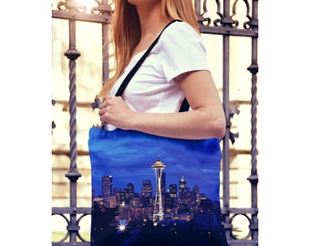 Blue Farmers Market Tote Bag, Space Needle Seattle Skyline at Night, Yoga Bag, Shopping Bag, Reuseable Tote, Small and Large Sizes Available