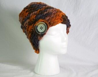 Chestnut Brown Hues Wool Crochet Hat