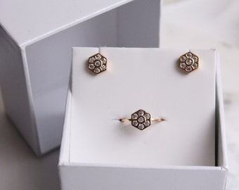 Hexagon Pave Earring and Ring Gift Set - Gift Boxed - Holiday Gifts - Pave Jewelry - Hexagon Earrings - Gold Hexagon Ring