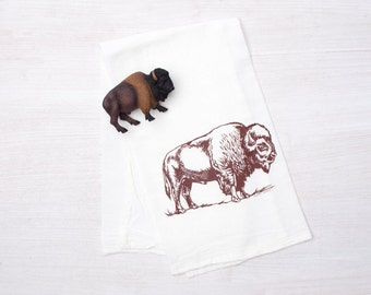 Bison Flour Sack Towel - Tea Towel - Screen Printed Kitchen Towel - 100% Cotton Dishcloth - Buffalo Kitchen Towel - Flour Sack Towel