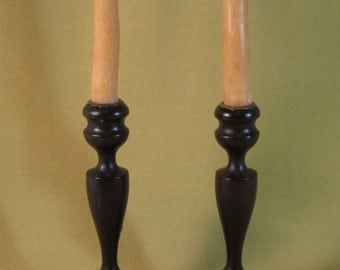 Vintage 1920's Pair of Wooden Turned Candlesticks Walnut