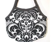 Shoulder Bag, Black and White Damask  Pattern Upholstery Fabric