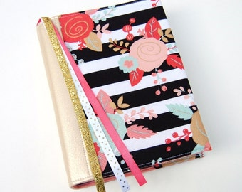 Bible Cover - Book Sleeve - ESV Journaling Bible Single and Double Column - NIV -  Floral Over Stripe