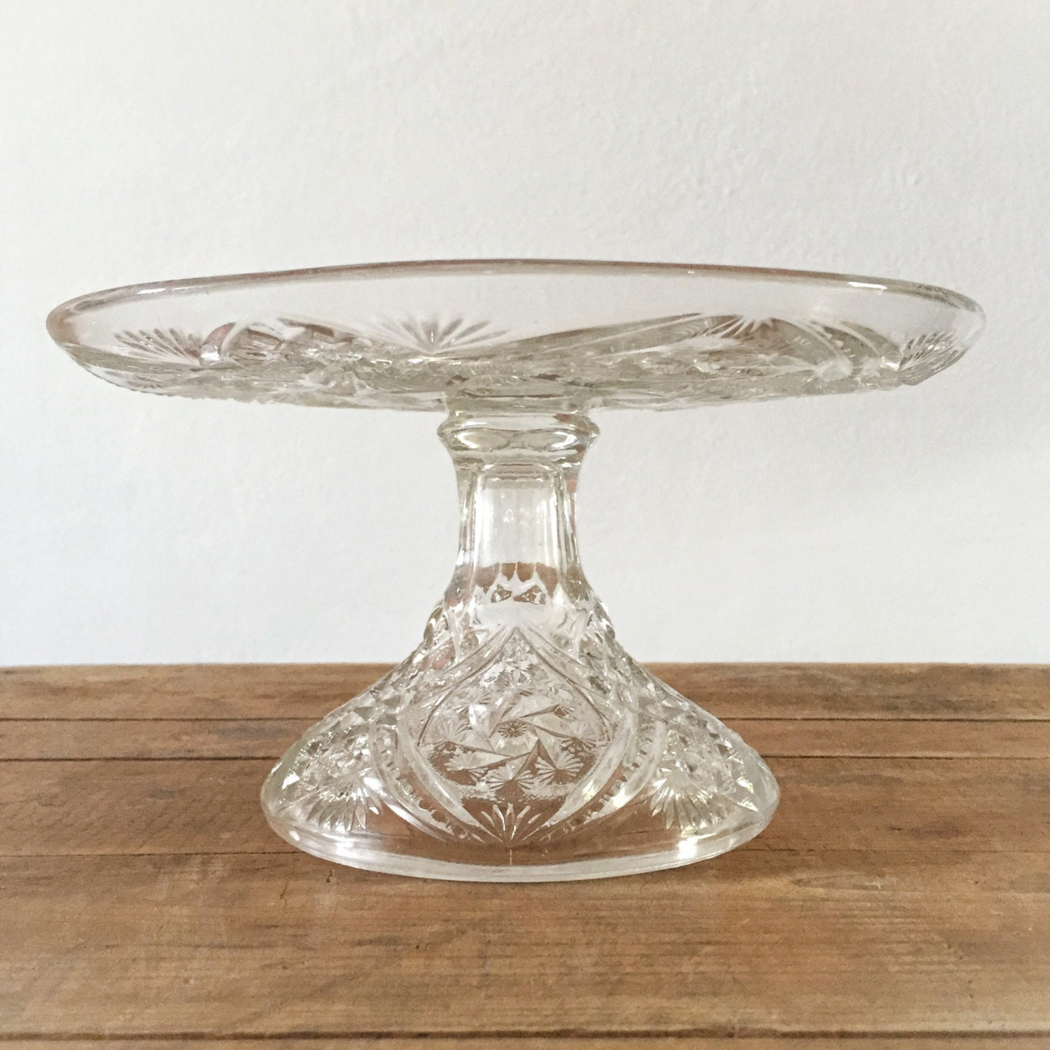 Art Deco Glass Cake Stand : Vintage Cake Stand Art Deco Cut Clear Glass Pedestal Tall Cake