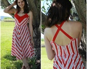 Vintage 1970s 1980s // Red and White Chevron Striped Halter Sundress // S/M