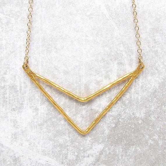 hammered chevron pendant necklace