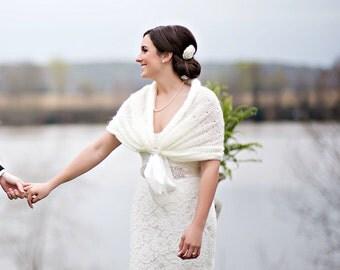 Bridal Bolero, Winter Wedding Shawl, Ivory Shawl, Crochet Shawl, Bridal Wrap, Bridal Shrug, Bridal Shawl, White Bolero