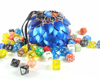 Dungeons And Dragons Large Dice Bag Blue Scalemaille And Chainmaille Aluminum - SKDB-SC-L-BL