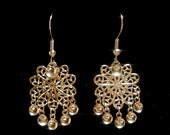 Rose - Traditional  Silver Filigree Flower Norwegian Solje Style Earrings with Silver Drops