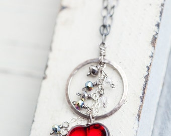 Red Heart Necklace, Sterling Silver, Heart Necklace, Circle