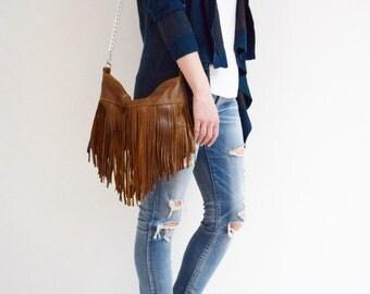 LAST One - Brown Leather Fringe Bag