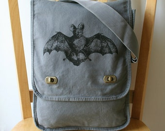 Bat Canvas Messenger Bag Laptop Bag