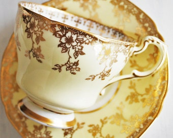 Paragon Teacup and Saucer  / Yellow and Gold Vintage Tea Cup