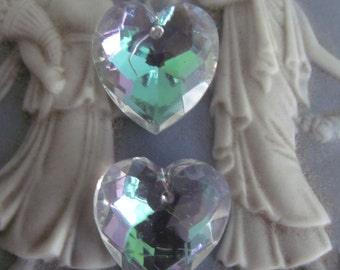 Swarovski AB Crystal Clear Heart With Hole