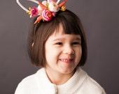Flower White Rabbit Bunny Ears.  Easter Fascinator, Easter Hat, White Rabbit, Alice In Wonderland, Fascinator Hat, Headband, Rabbit Ears