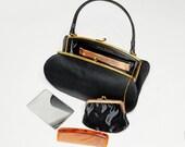 handbag, mid century, Bag by Dorian, clutch, purse, change purse, tortoiseshell comb, evening, retro, black, gold tone, 1960s, feminine