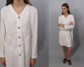 80s Linen Shirt Dress, Minimalist Dress, Sack Dress, Mesh Dress, Vintage 80s Dress Δ fits sizes: xs / sm