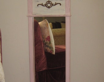 Vintage Federal Mirror  - Wall Mirror 3/4 Length Chippendale Style  - Bubble Gum & White