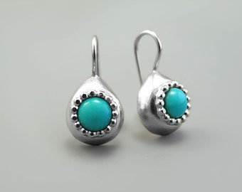 Turquoise silver earrings, Teardrop earrings, southwestern earring, handmade jewellery, bohemian jewelry, ethnic earrings, turquoise earring