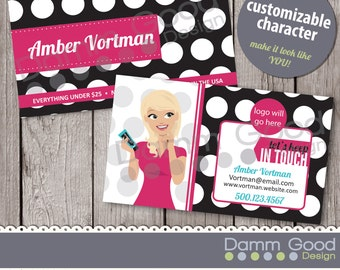 BUSINESS CARD- Perfectly Posh inspired business card, portrait, custom illustration, business card