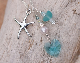 Turquoise Sea Glass Necklace 130-0067
