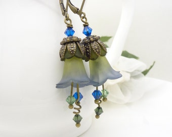 Blue and green earrings, Lucite flower earrings, Dark azure blue and olive green flowers, Vintage style Beaded jewelry